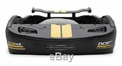 Garçons Race Voiture Noire Cadre De Lit Double Taille Plate-forme Plastique Mobilier Enfants Chambre