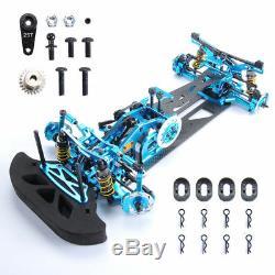 Hsp Hpi Rc 110 4wd Drift Racing Car Alliage Et Fibre De Carbone Body Frame G4 Kit Bleu