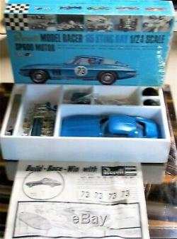 Revell Vintage 1/24 1/25 Chevrolet Corvette Bleu Slot Car Châssis Box + Cox Amt
