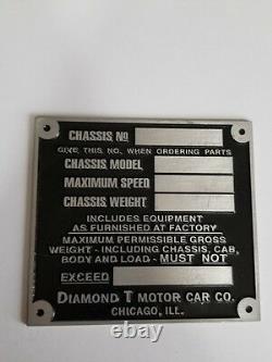 Serial Tag Diamond't' Motor Car Co. Étiquette De Châssis Seulement