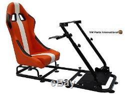 Siège De Seau À Siège Baquet Pc Gaming Racing Pc Ps3 Ps4 Xbox Orange / Blanc