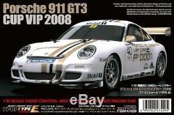 Tamiya 47429 1/10 Rc Voiture Tt-01e Châssis Porsche 911 Gt3 Cup Vip 2008 Kit Withesc