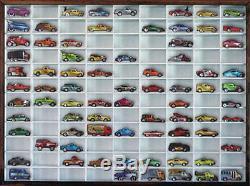 Vitrine Murale Matchbox Hot Wheels 164 108 Voitures, Blanc Avec Cadre En Noyer