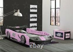 Voiture Bed Frame Race Twin Size Toddler Kids Boy Girls Bedroom Furniture Black Pink
